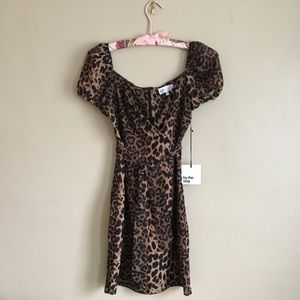 by the way Leopard Print Puff Sleeve Minidress XS